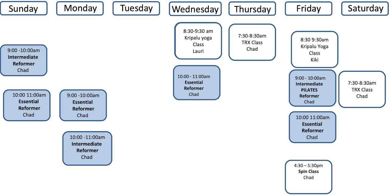 September Fitness Schedule 2021 Updated